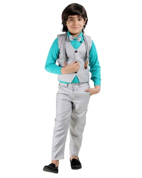 Fourfolds Ethnic Wear 4 Piece Suit Set with Bow-Tie Shirt Trousers and Waistcoat for Kids and Boys