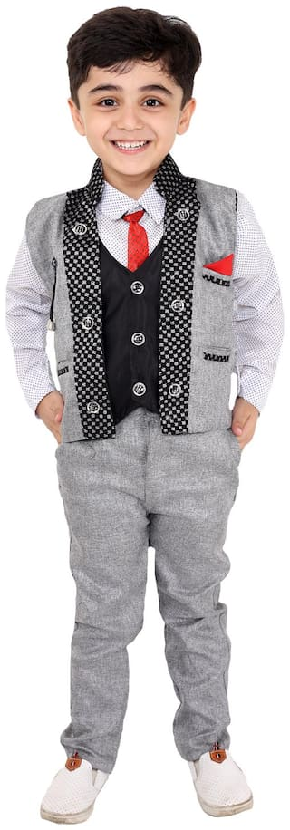Fourfolds Ethnic Wear 4 Piece Suit Set with Shirt Trousers Tie and Waistcoat for Kids and Boys  Grey