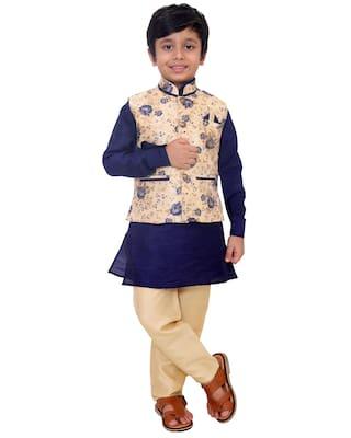 FOURFOLDS Boy Cotton blend Floral Kurta pyjama set - Blue & Beige