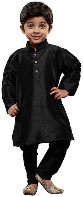 FOURFOLDS Boy Cotton blend Solid Kurta pyjama set - Black