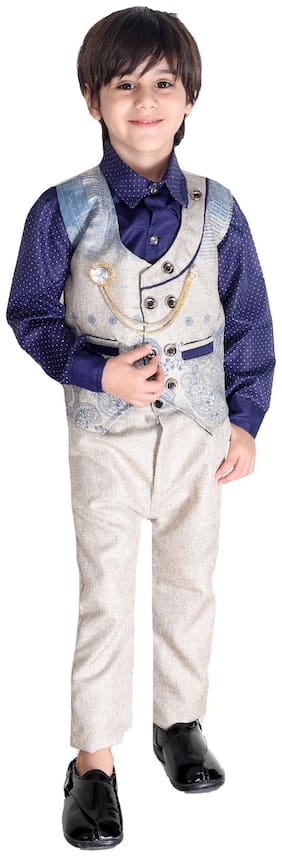 Fourfolds Ethnic Wear 3 Piece Suit Set with Shirt;Trousers and Beautifully Printed Waistcoat for Kids and Boys Blue;Beige