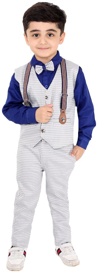 Fourfolds Ethnic Wear 3 Piece Suit Set with Shirt Trousers Tie and Gallace Waistcoat for Kids and Boys Blue;grey