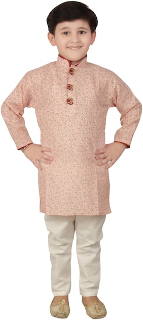 FOURFOLDS Boy Cotton Printed Kurta pyjama set - Orange & White