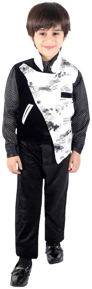Fourfolds Ethnic Wear 3 Piece Suit Set with Shirt Trousers and Beautiful Asymmetric Waistcoat for Kids and Boys_FC025 Black