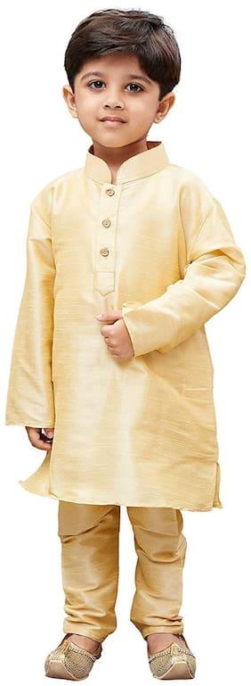 FOURFOLDS Boy Cotton blend Solid Kurta pyjama set - Gold