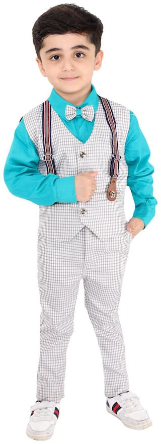 Fourfolds Ethnic Wear 3 Piece Suit Set with Shirt Trousers Tie and Gallace Waistcoat for Kids and Boys Green;grey