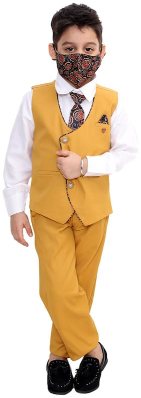 Fourfolds Ethnic Wear 5 Piece Suit Set with Tie;Shirt;Trousers and Waistcoat for Kids and Boys Mustard;White