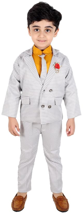 Fourfolds Ethnic Wear 4 Piece Coat Suit Set with Tie,Shirt,Trousers and Blazer for Kids and Boys (Yellow;Grey)