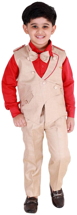 Fourfolds Ethnic Wear 3 Piece Suit Set with Bow-Tie;Shirt;Trousers and Waistcoat for Kids and Boys_FC038 Red