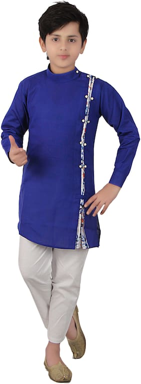 FOURFOLDS Boy Cotton blend Solid Kurta pyjama set - Blue & White