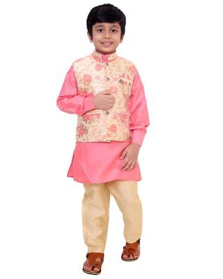 FOURFOLDS Boy Cotton blend Floral Kurta pyjama set - Pink & Beige