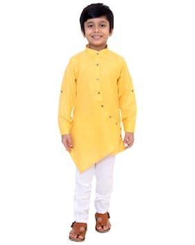 FOURFOLDS Boy Cotton blend Solid Kurta pyjama set - Yellow & White