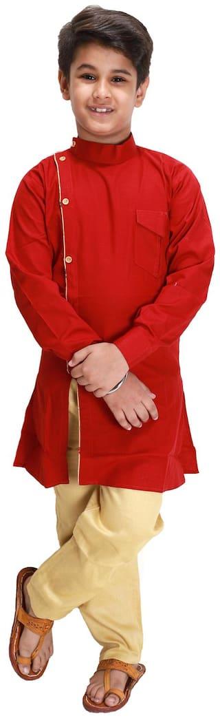 FOURFOLDS Boy Cotton blend Solid Kurta pyjama set - Red & Beige