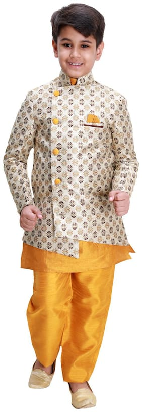 Fourfolds Three piece Indo Western designer dress set with Jacquard Blazer for kids and boys - Multi
