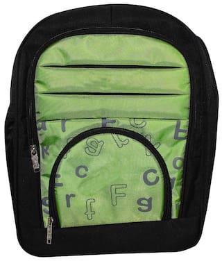 Frabjous Polyester Green And Black School Bag
