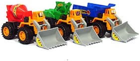 Friction Powered Construction Vehicle - Set of 3 - Dumper + JCB + Cement Mixer