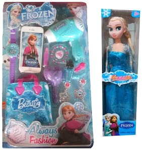 Frozen Doll Beauty Parlor & Grooming Toy Set for Girls - With 15 Make up Accessories & a Doll too