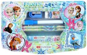 Frozen Metal Pencil Box with 1 Ruler, 2 Pencils, 1 sharpener, 1 Eraser and Marker pen for girls