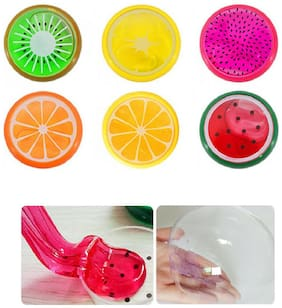 Fruit Slime , Magic Crystal Clay Putty , Rubber Slime for Kids, Non Toxic Scented Interesting Art Creation (6 Pieces , MultiColor)