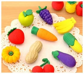 Fruits & Vegetable Shaped Small Erasers (Pack of 2)