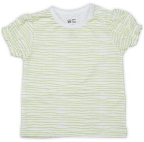 Mini Klub Baby Girl Cotton Striped T Shirt Top - White