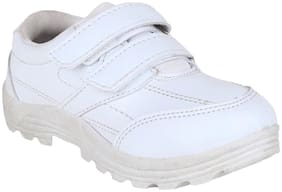 FUEL Kid's White Velcro Closure Formal Comfortable Soft School Shoes for Boy's