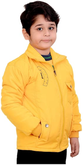 KABEER Boy Polyester Solid Winter jacket - Yellow