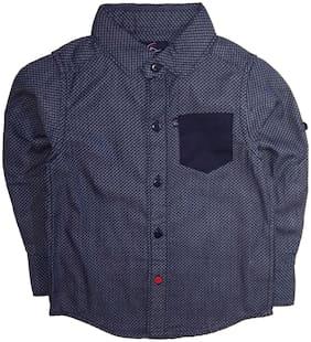 KiddoPanti Boy Cotton Printed Shirt Blue
