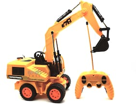 Fully Functional 360 Degree Rotation Remote Control Excavator Stunt Vehicle Toy with Light Effects