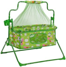 Fun Baby Cozy New Born baby Cradle / baby jhula / baby palna crib / Bassinet with Mosquito Net and Bottle Holder