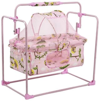 Fun Baby New Born Baby Pink Cradle with Mosquito Net