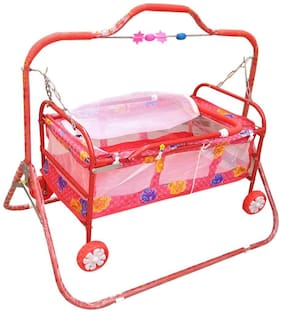 FUN RUN BABY BRAND, BABY SWING CRADLE.. CUM CRIB WITH REMOVABLE MOSQUITO NET WITH IRON PIPE 4 WHEEL BASSINETS AND CRADLES (JHULLA AND PALNA) FR-JP-33