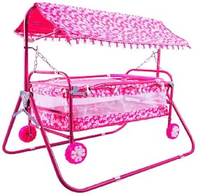 FUN RUN BABY BRAND, BABY SWING CRADLE.. CUM CRIB WITH REMOVABLE MOSQUITO NET WITH IRON PIPE 4 WHEEL BASSINETS AND CRADLES (JHULLA AND PALNA) FR-JP-11