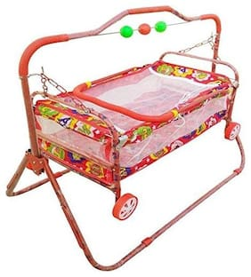 FUN RUN BABY BRAND, BABY SWING CRADLE.. CUM CRIB WITH REMOVABLE MOSQUITO NET WITH IRON PIPE 4 WHEEL BASSINETS AND CRADLES (JHULLA AND PALNA) FR-JP-37