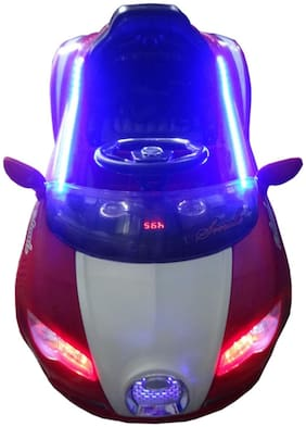 FUN RUN BABY BRAND, BABY SUPER STYLISH, VEYRON SPORT BOOMER RECHARGEABLE BATTERY OPERATED LED LIGHT CAR RED COLOR WITH REMOTE CONTROL AND MOBILE MUSIC CONNECTIVITY FOR YOUR KIDS FR-BOC-22