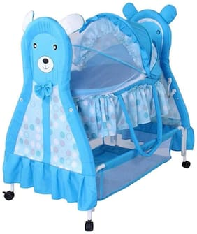 FUN RUN BABY BRAND, Baby Wheels With Brakes Swing Cradle.. Cum Crib With Removable Mosquito Net With Iron Pipe 4 wheel Bassinets And Cradles (jhulla and palna) LIGHT BLUE Color FR-JP-03