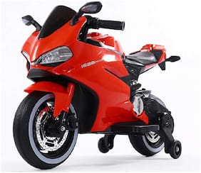 "FUN RUN BABY, Baby Battery Operated Official Licensed ""Ducati"" Hand Race Bike Red Color With Wheels LED Light And Original Music System Super Racer Bike For Your Kids FR-BOB-73"