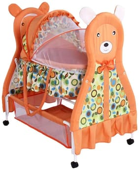 FUN RUN BABY BRAND, Baby Wheels With Brakes Swing Cradle.. Cum Crib With Removable Mosquito Net With Iron Pipe 4 wheel Bassinets And Cradles (jhulla and palna) Brown Color FR-JP-02