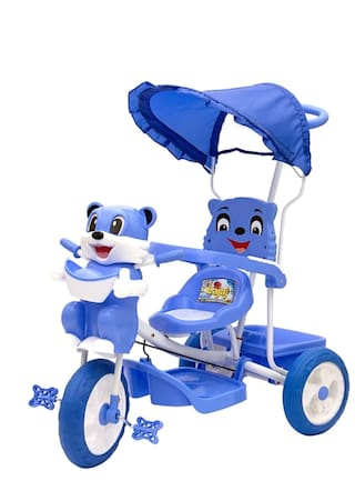 FUN RUN Baby Brand, Baby Cute Tricycle With Canopy & Tubeless Wheel & Footrest & Light & Music & Back Support & Storage Basket And Parent Push Handle Control For Children FR-TC-11