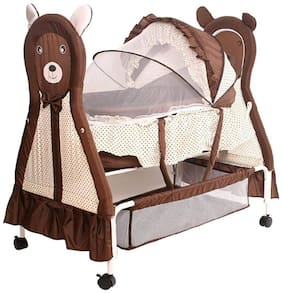FUN RUN BABY BRAND, Baby Wheels With Brakes Swing Cradle.. Cum Crib With Removable Mosquito Net With Iron Pipe 4 wheel Bassinets And Cradles (jhulla and palna) Brown Color FR-P-01