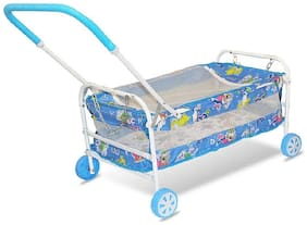 FUN RUN BABY BRAND, BABY SWING CRADLE.. CUM CRIB WITH REMOVABLE MOSQUITO NET WITH IRON PIPE 4 WHEEL BASSINETS AND CRADLES (JHULLA AND PALNA) FR-JP-38