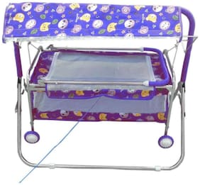 FUN RUN BABY BRAND, Baby Silver Pipe 4 wheels Bassinets And Cradles (jhulla and palna) With Mosquito Net For Your Kids FR-JP-07