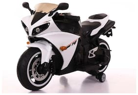 FUN RUN BABY, Baby Battery Operated Official Licensed R15 Hand Race Bike White Color With Wheels LED Light And Original Music System Super Racer Bike For Your Kids FR-BOB-89