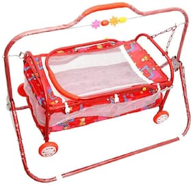 FUN RUN BABY BRAND, BABY SWING CRADLE.. CUM CRIB WITH REMOVABLE MOSQUITO NET WITH IRON PIPE 4 WHEEL BASSINETS AND CRADLES (JHULLA AND PALNA) FR-JP-40