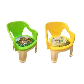 Fun Run Multi-Purpose Small Chair For Baby With Soft Seat (With Cushion) And With Whistle In Seat (Set of 2)