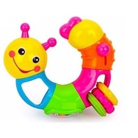 FunBlast  Lovely Worm Rattles Toy for Toddler, Infant & Small Kids, Rattle Newborn Toys Colourful Plastic Baby Nursery Hand Bell Hand Shake Rattles Play set