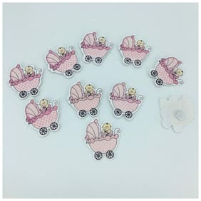 Funcart 25 pcs small wood pink stroller baby shower favours motif