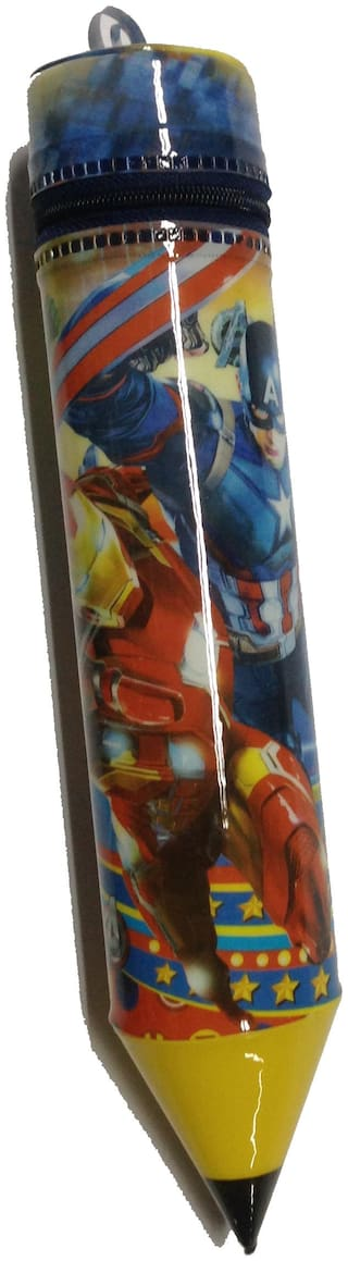 Funcart Avengers Super Hero Pencil Shaped Soft Pvc Pencil Zipper Case