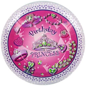 Funcart Birthday Princess Theme Disposable Paper Plate( Pack Of 6)