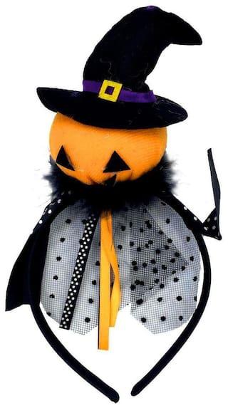 Funcart Black Hat with Orange Pumpkin Halloween Hairband